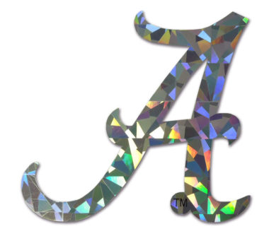 Alabama A Silver Reflective Decal