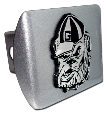 University of Georgia Bulldog Emblem on Brushed Hitch Cover