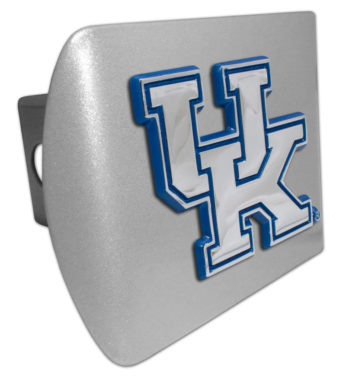 University of Kentucky Blue Emblem on Brushed Hitch Cover