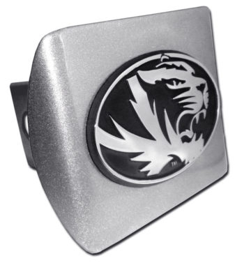 University of Missouri Tiger Emblem on Brushed Hitch Cover