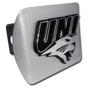 Northern Iowa Emblem on Brushed Hitch Cover