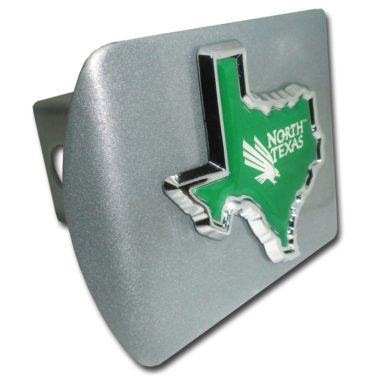 University of North Texas State Shape Emblem on Brushed Hitch Cover