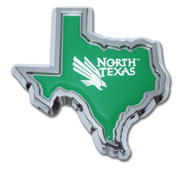University of North Texas State Shape Chrome Emblem