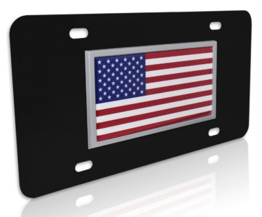 USA Flag Black License Plate
