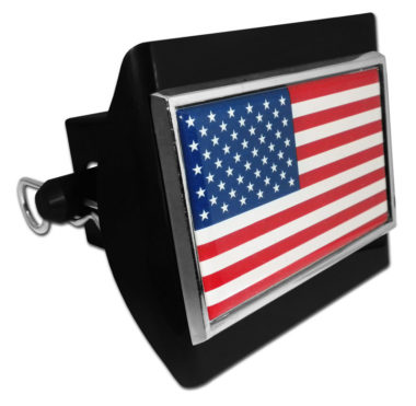 American Flag Emblem on Black Plastic Hitch Cover image