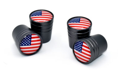 USA Valve Stem Caps - Black Smooth image