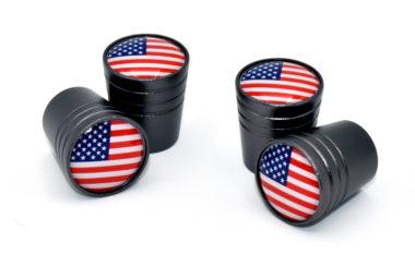 USA Valve Stem Caps - Black Smooth