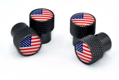 USA Valve Stem Caps - Black Knurling image