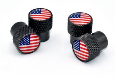 USA Valve Stem Caps - Black Knurling