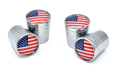 USA Valve Stem Caps - Chrome Smooth image