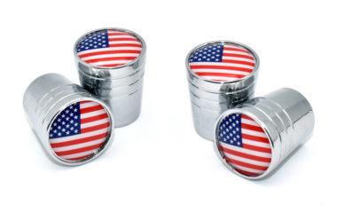 USA Valve Stem Caps - Chrome Smooth