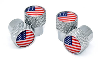 USA Valve Stem Caps - Chrome Knurling