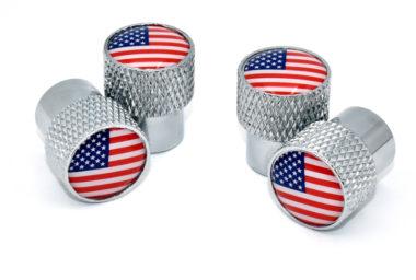 USA Valve Stem Caps - Chrome Knurling