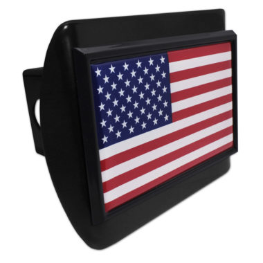 USA Flag Black Hitch Cover