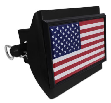 USA Flag Black Plastic Hitch Cover