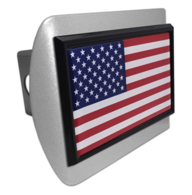 USA Flag Brushed Hitch Cover