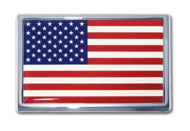 Large American Flag Chrome Emblem