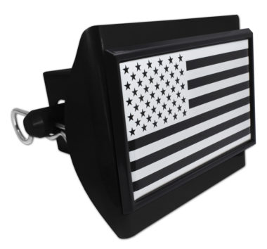 Inverted American Flag Black Plastic Hitch Cover