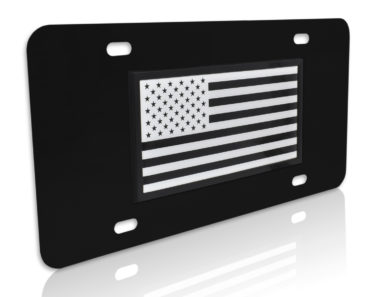Inverted USA Flag Black License Plate