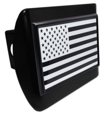 Inverted USA Flag Black Hitch Cover