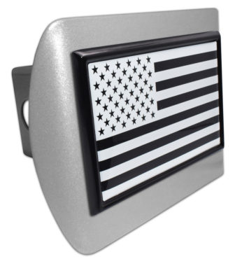Inverted American Flag Brushed Hitch Cover