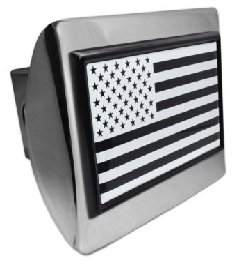 Inverted American Flag Chrome Hitch Cover