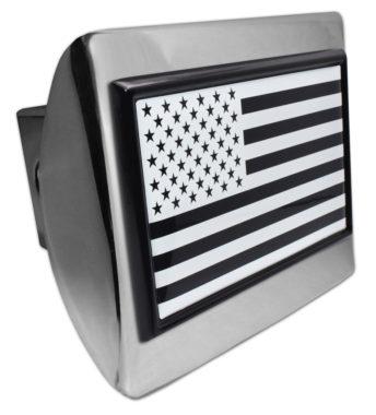 Inverted USA Flag Chrome Hitch Cover