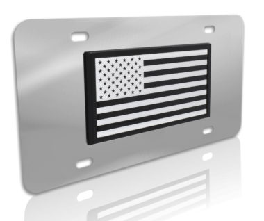 Inverted USA Flag Stainless Steel License Plate