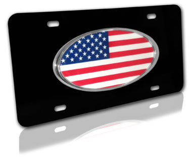 American Flag Black License Plate