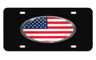 American Flag Black License Plate