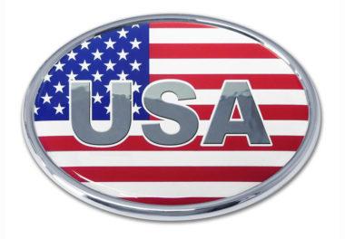 USA Flag Oval Chrome Emblem