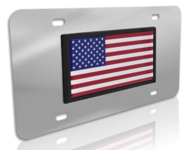 USA Flag Stainless Steel License Plate