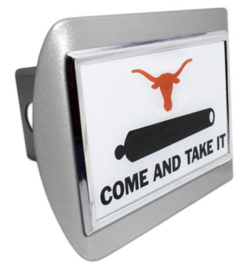 University of Texas Cannon Emblem on Brushed Hitch Cover
