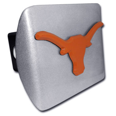University of Texas Longhorn Orange Emblem on Brushed Hitch Cover