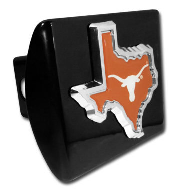 University of Texas State Shape Color Emblem on Black Hitch Cover