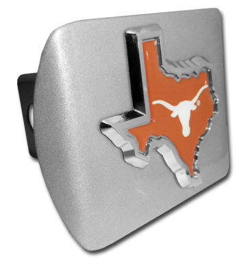 University of Texas State Shape Color Emblem on Brushed Hitch Cover
