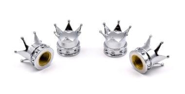 Crown Shiny Chrome Valve Caps