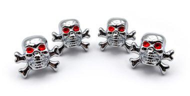Skull Shiny Chrome Valve Caps