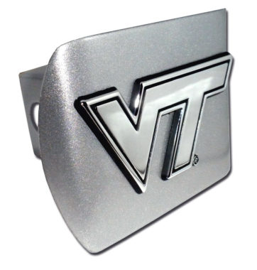 Virginia Tech Emblem on Brushed Hitch Cover