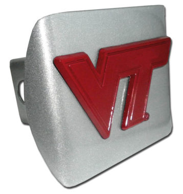 Virginia Tech Maroon Emblem on Brushed Hitch Cover