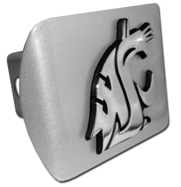 Washington State University Emblem on Brushed Hitch Cover
