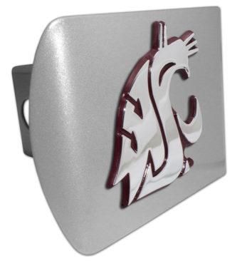 Washington State University Crimson Emblem on Brushed Hitch Cover