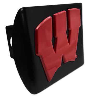 University of Wisconsin Red Emblem on Black Hitch Cover