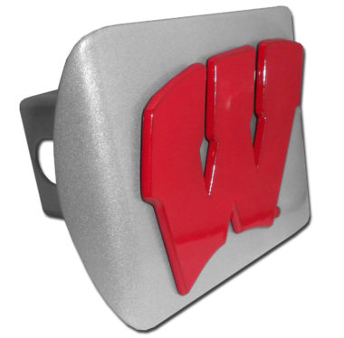 University of Wisconsin Red Emblem on Brushed Hitch Cover