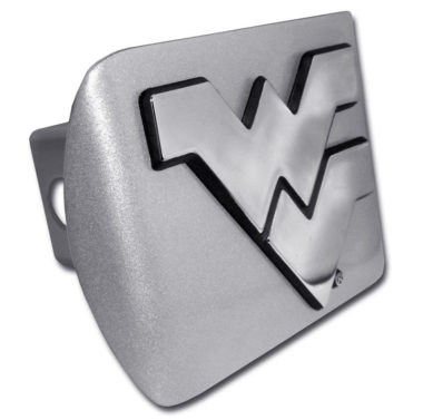 West Virginia University Emblem on Brushed Hitch Cover