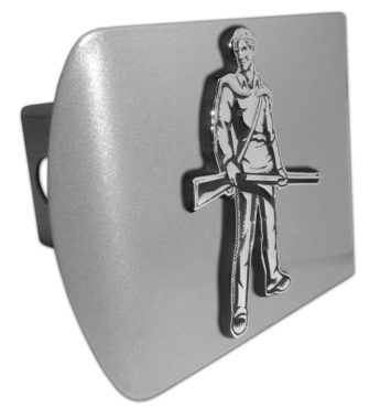 West Virginia University Mountaineer Emblem on Brushed Hitch Cover image