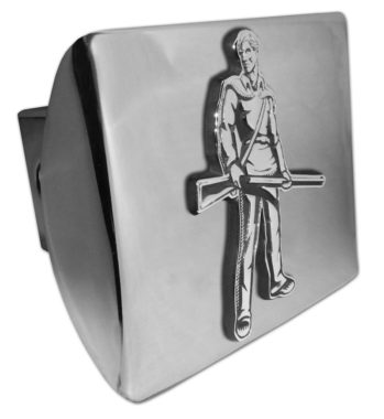 West Virginia University Mountaineer Emblem on Chrome Hitch Cover