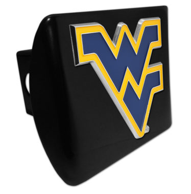 West Virginia University Navy Emblem on Black Chrome Hitch Cover
