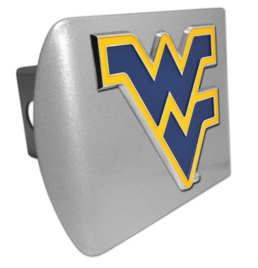 West Virginia University Navy Emblem on Brushed Hitch Cover