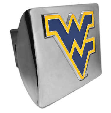 West Virginia University Navy Emblem on Chrome Hitch Cover